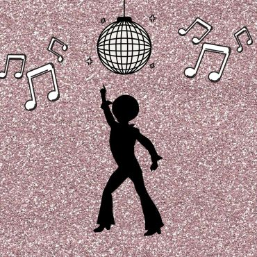 Image of a purple glitter background with the silhouette of a posed person and a disco ball with music notes.