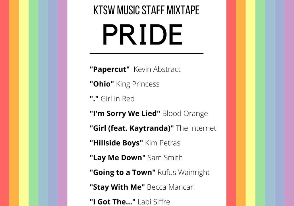 White background with rainbow borders and lets of songs