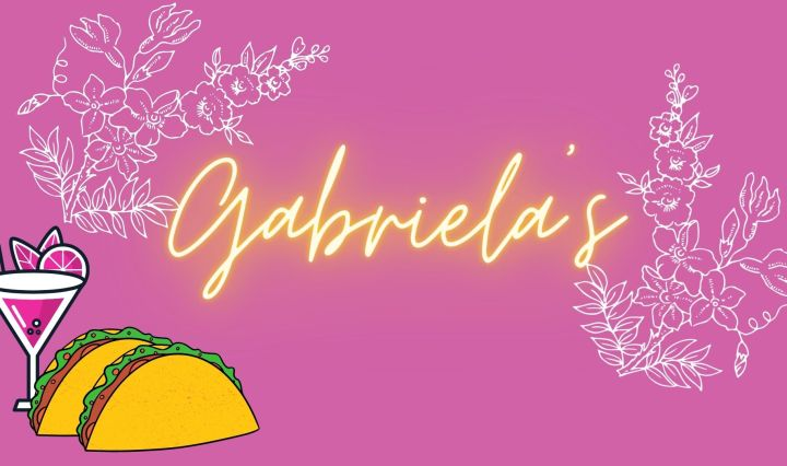 A photo of a purple background with the name Gabriela's displayed in yellow neon lettering with white flowers curving around the name as well as a drink and two tacos in the bottom left corner.