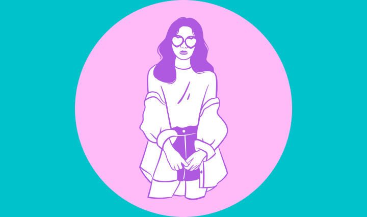 Solid light blue background with a pink circle in the middle with a graphic of a girl in the middle of the circle.