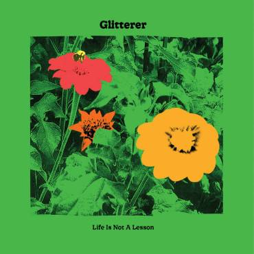 This is the album cover for Glitterer's Life is Not A Lesson Album. The cover is green with a red, yellow, and orange flower.