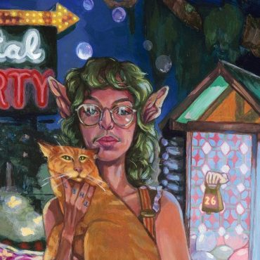 A painting of the band leader 26, holding a cat in front of a surreal pond setting.