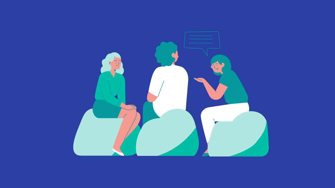 A Royal blue background with a graphic of 3 seated individuals in front having a conversation depicted by a blue dialogue box above their heads.