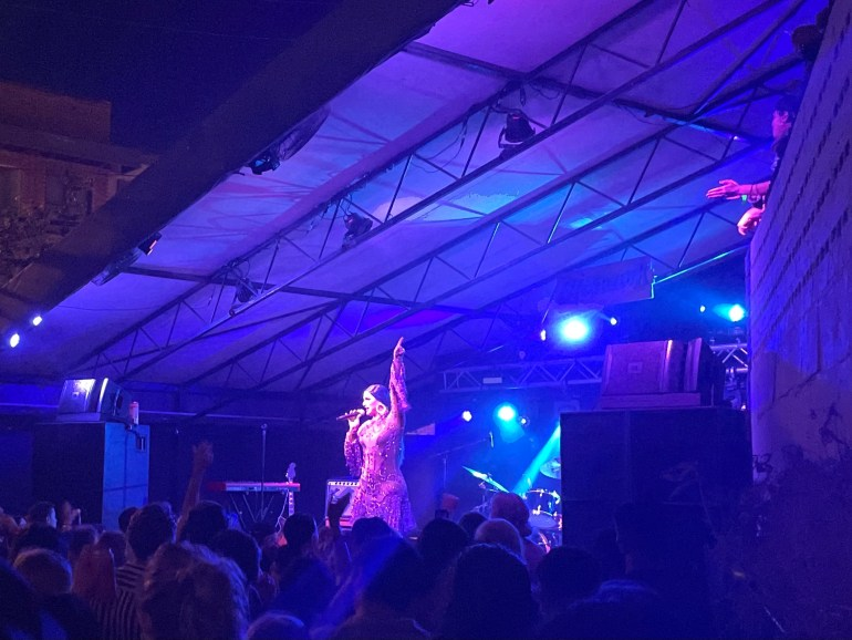 Former Rupaul's Drag Race contestant, Cynthia Lee Fontaine, performing onstage at Mohawk in Austin, Texas.