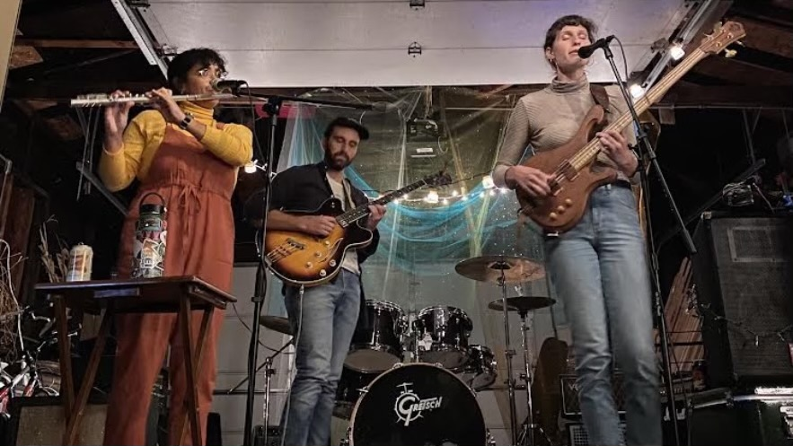 Gabriela Torres (left), Dan Magorrian (center), and Nora Predey (right) performing as Large Brush Collection for their first Chicago tour date.