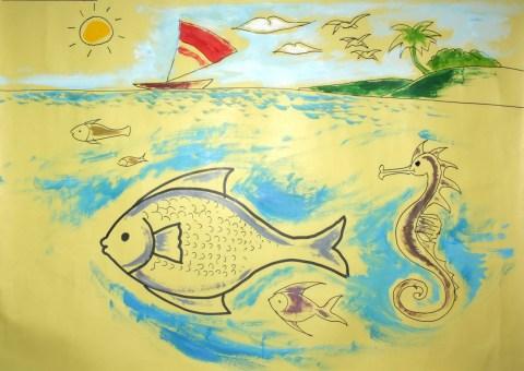 Cara Menggambar Ikan Hias Oskar, Arwana, Maskoki, Cupang dan Koi -