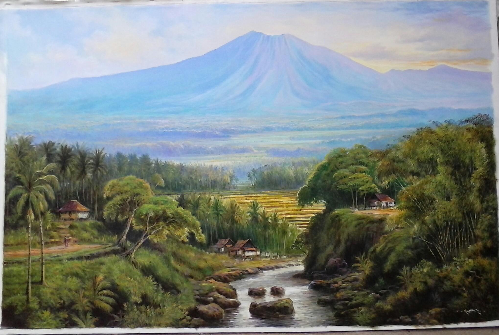Lukisan pemandangan gunung slamet  pelukis KUAT CASMORO