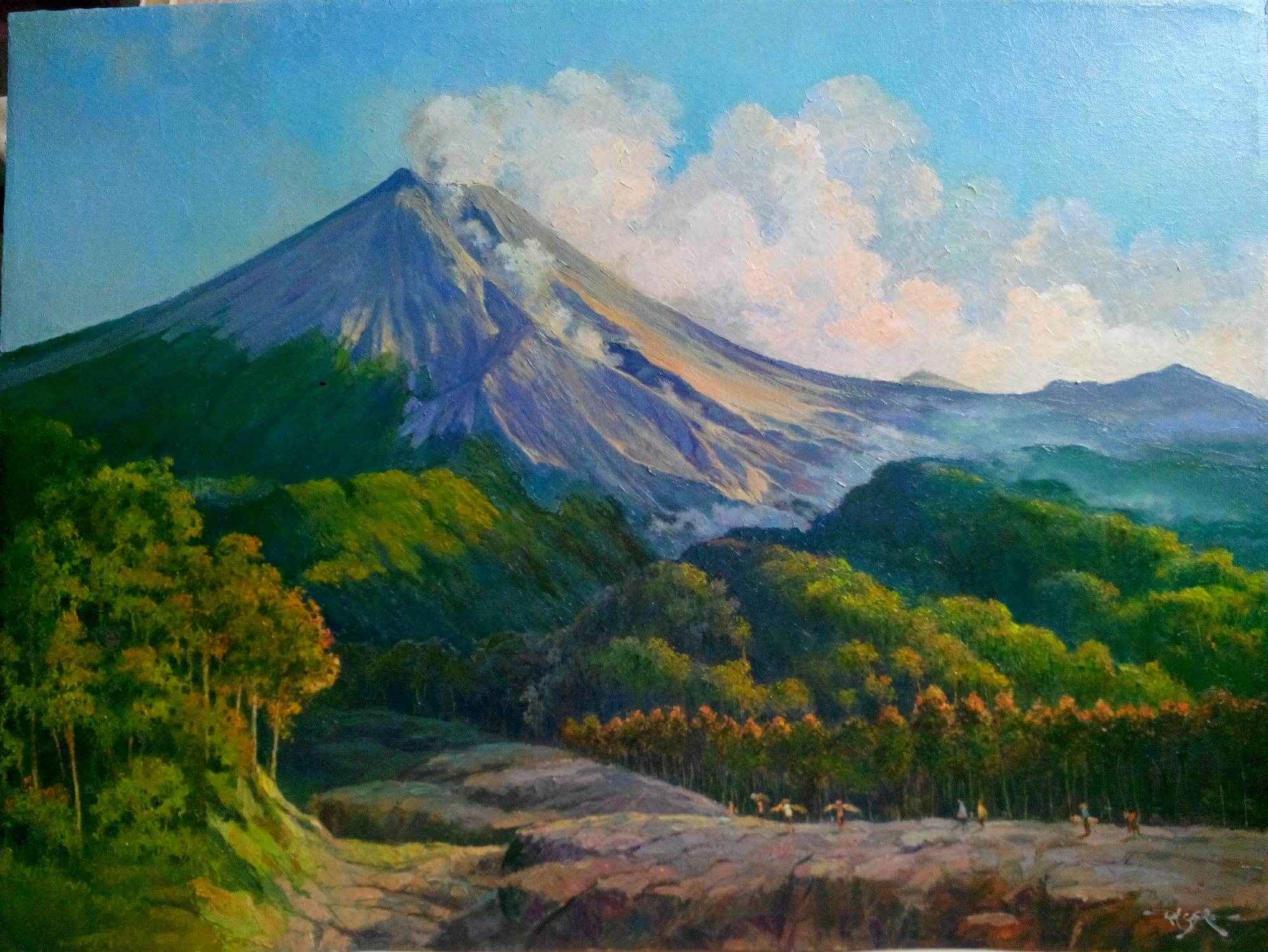 Lukisan gunung merapi  pelukis KUAT CASMORO