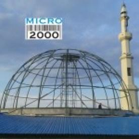 Pemasangan rangka kubah utama masjid raya Poso