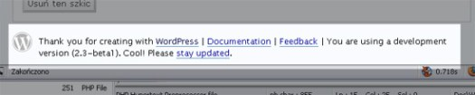 zrzut ekranu z napisem o testowaniu wersji Beta