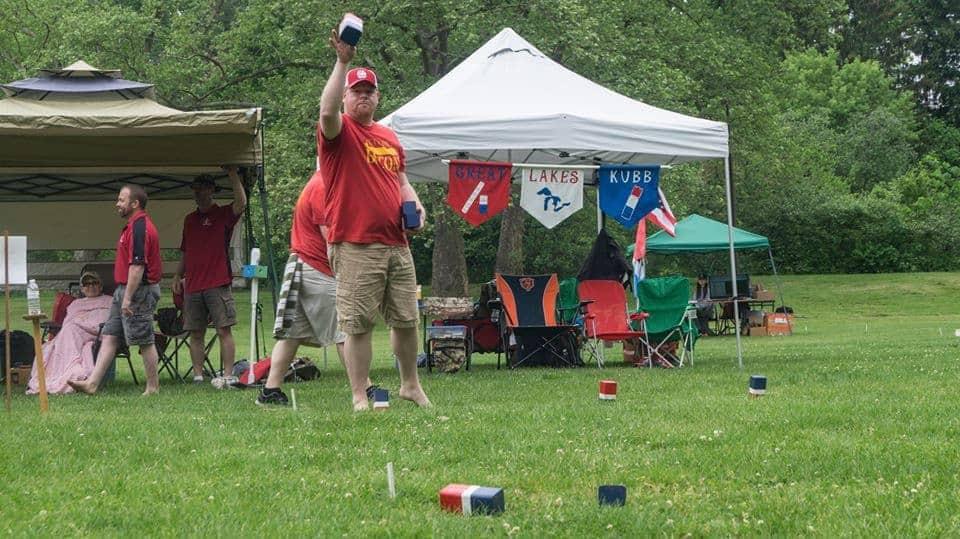 Photo of Jesse Fraim drilling kubbs.