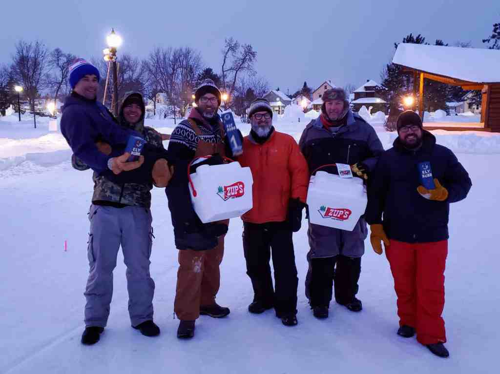 Top three teams at 2019 Ely Winter Festival Kubb Tournament.