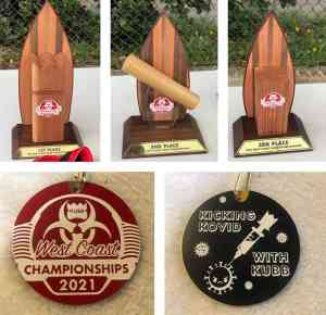 Photo of the trophies and medals at the 2021 West Coast Kubb Championships.