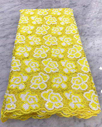 Yellow sequins lace