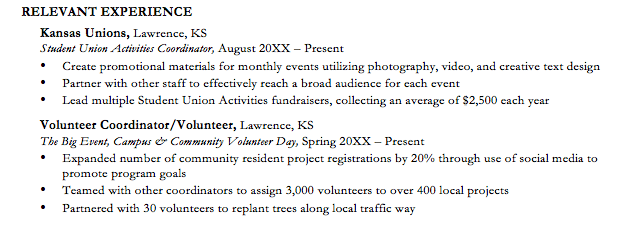 volunteer work description resume