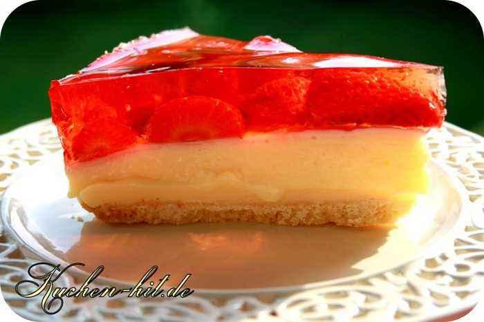 Rezept fr einen einfachen Erdbeerkuchen mit Pudding