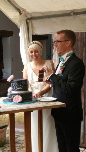 Kuchenönigin Chalkboard Tafel Vintage Wedding Cake Hochzeit Retro Dahlie