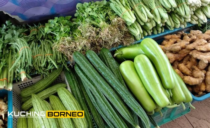 Jungle produce and vegetables at the Satok Sunday Market