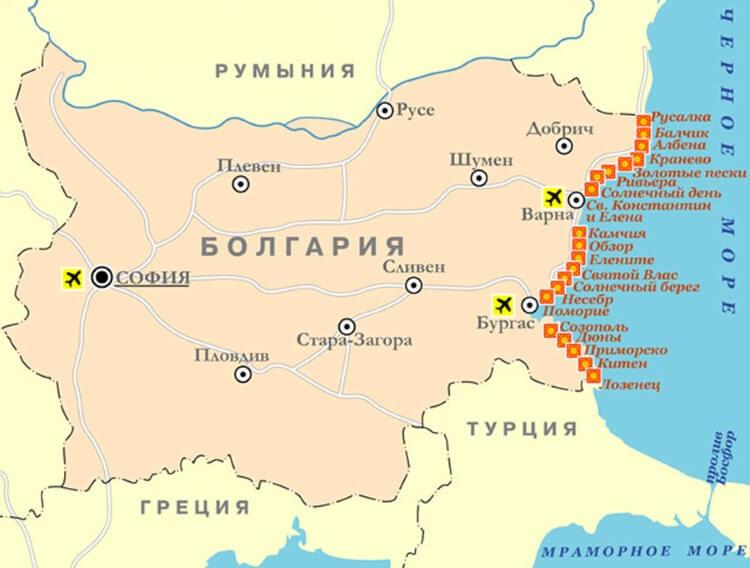 Karte Der Bulgarischen Strassen Auf Russisch Karte Von Bulgarien