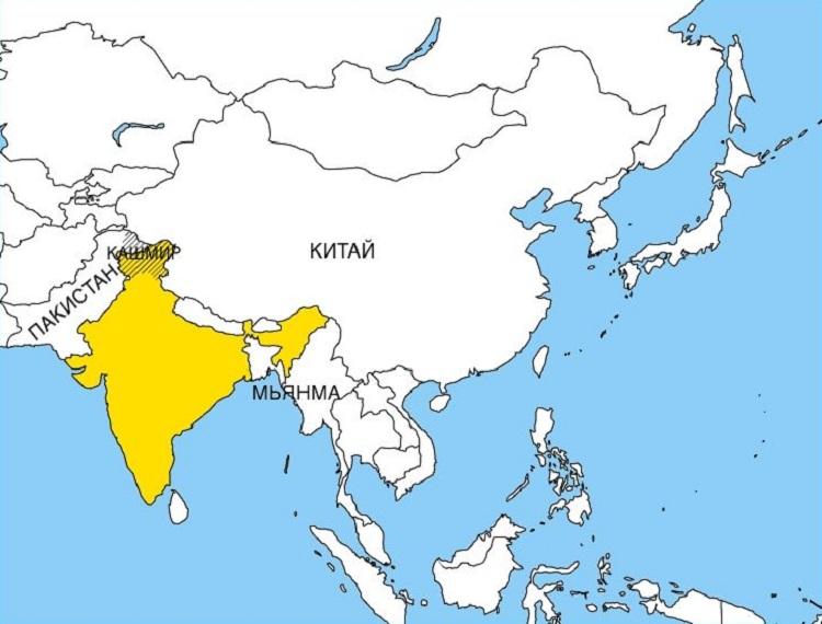 Nayta Kartalla Etela Intia Intian Kartta Venajaksi