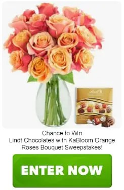 Lindt Chocolates with KaBloom Orange Roses Bouquet Sweepstakes