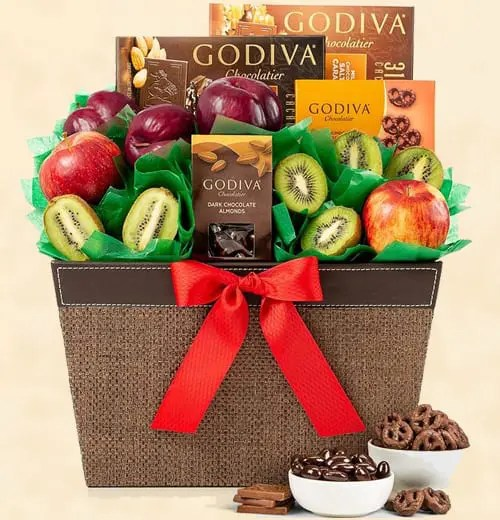 Godiva Chocolates with Crisp Apples, Juicy Plums and Kiwi Fruit Gift Basket Sweepstakes