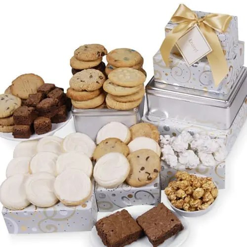 Cookie New Year Dazzling Swirls Tower Gift Basket Sweepstakes