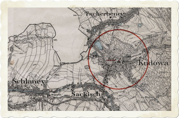 Mapa Kudowa Zdrój dawna osada