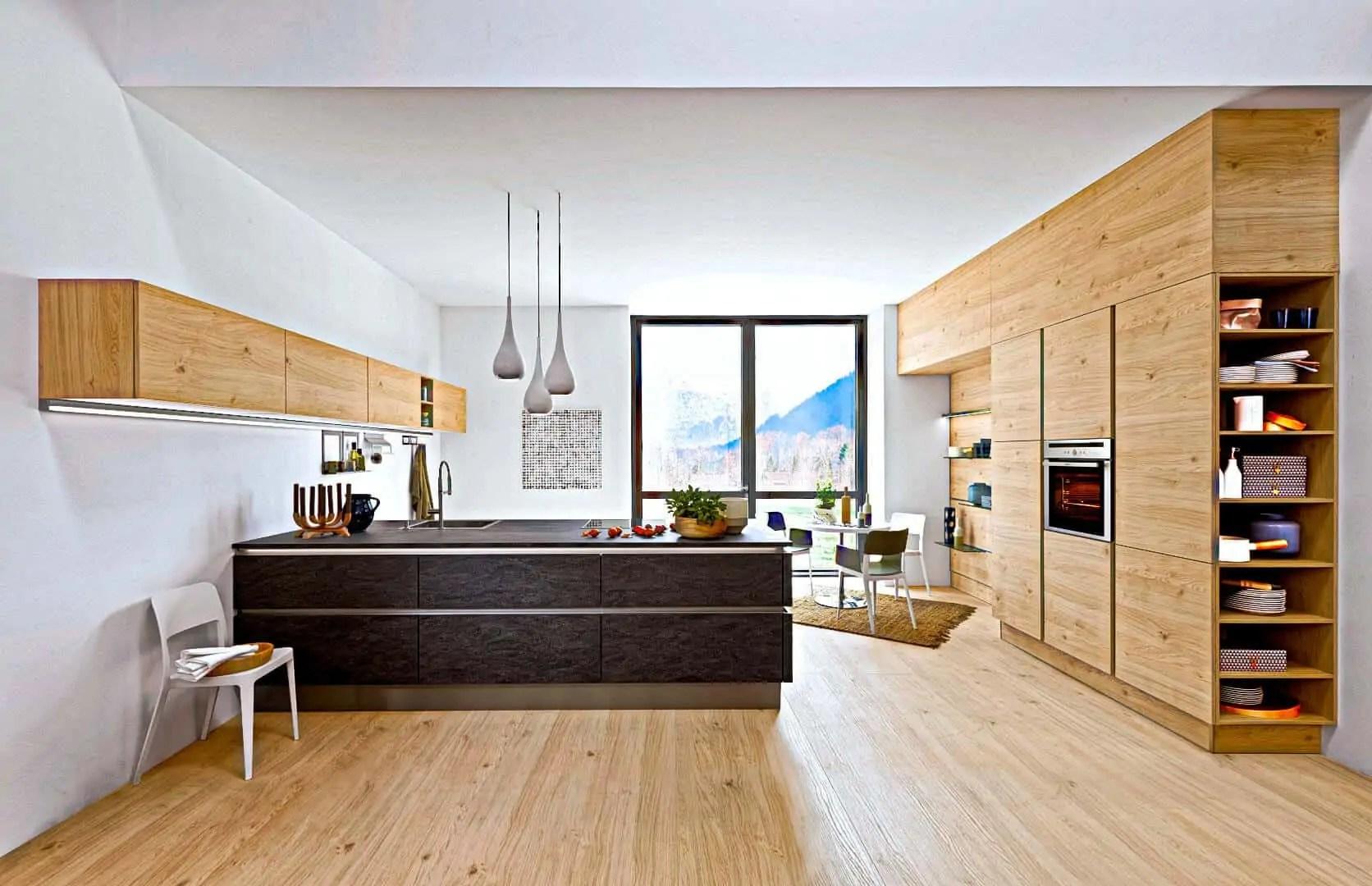 Kuche Modern Holzoptik Arbeitsplatte Kuche Holz Grau