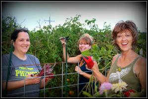 Dr. Catherine, Emily and Patti work on the community plot in preparation of the farm tour.