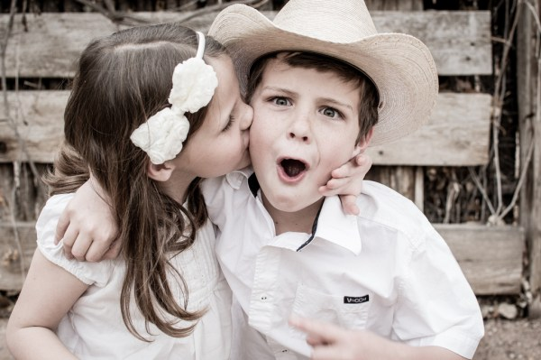 Sister kissing Brother