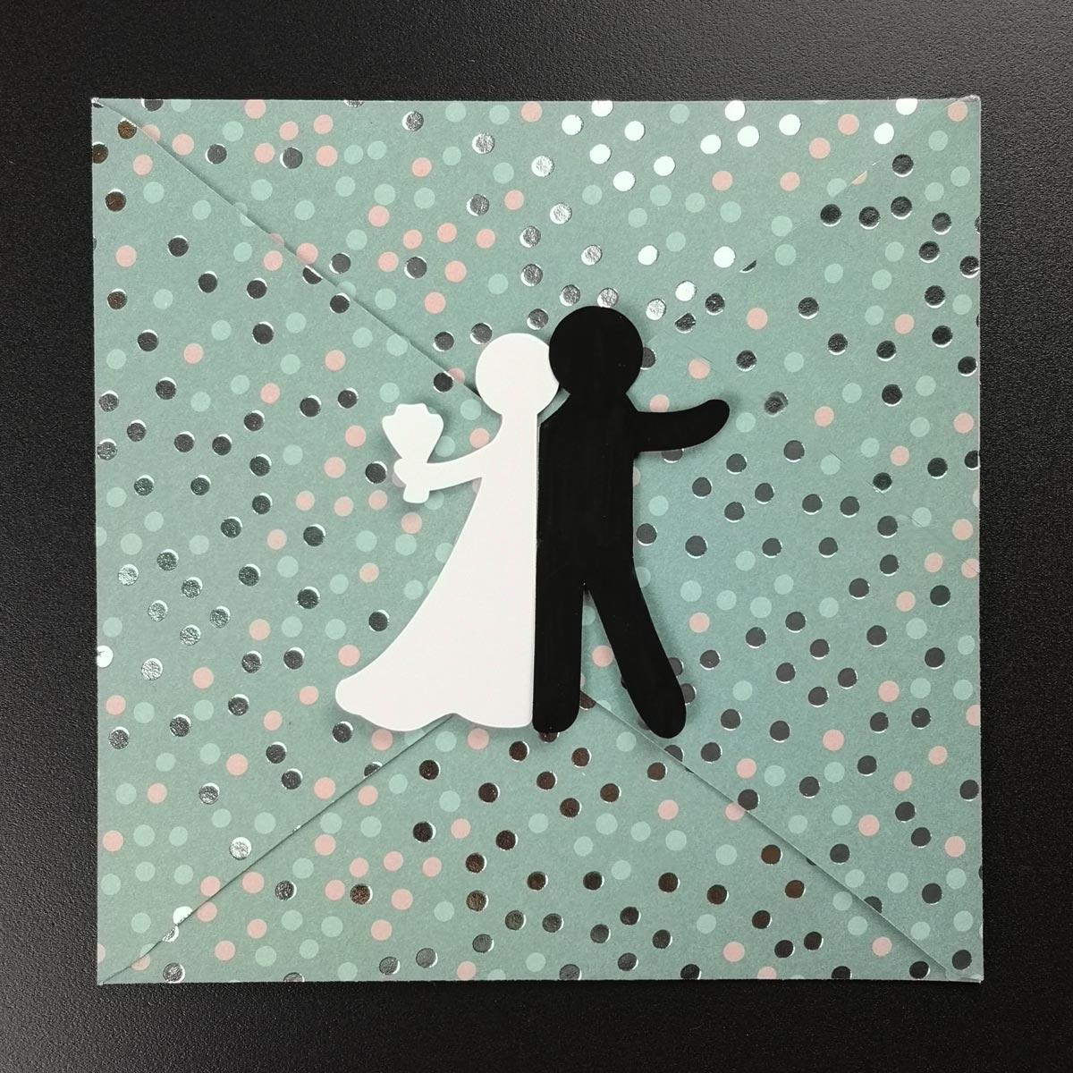 Hochzeitskarte  Umschlag mit Brautpaar Bastelvorlage