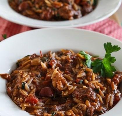 Jagnjeći paprikaš sa orzo pastom / Lamb and orzo stew