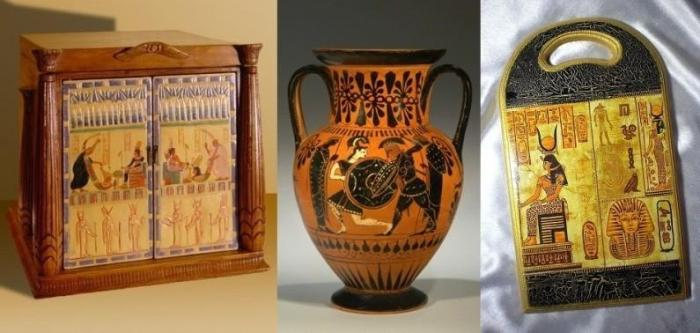 Шкафчик, кувшин и разделочная доска с египетскими рисунками