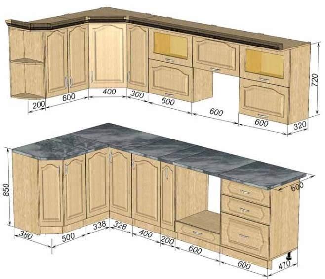 Эскиз угловой кухни