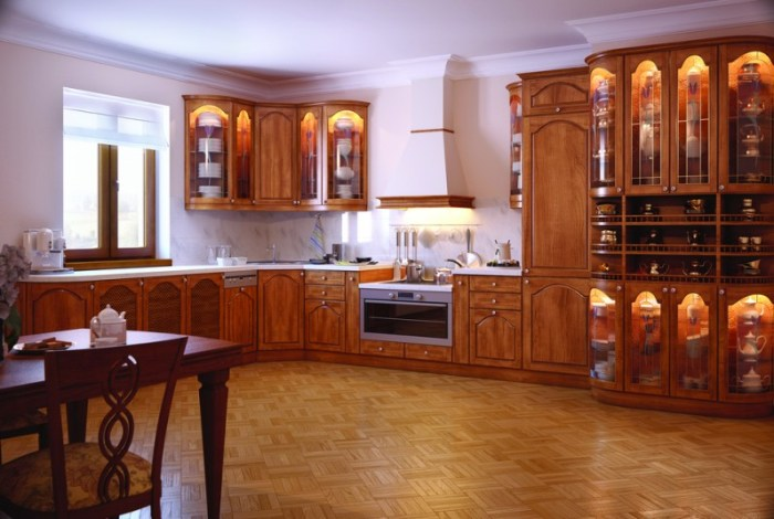 Полы из ламината на кухне в стиле классика