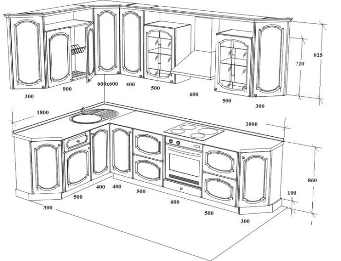 Пример чертежа и размеры угловой кухни