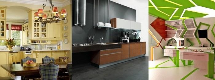Стили кухни слева направо: кантри, модерн, китч