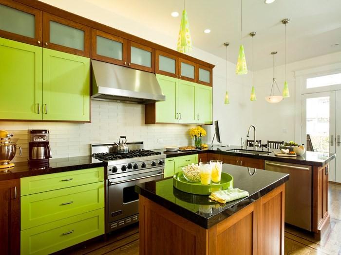 Кухня зеленая с коричневым