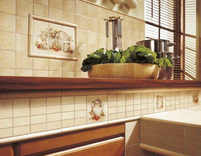 Отделка кухни керамической плиткой