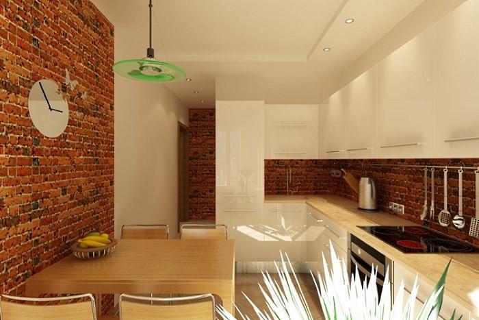 Отделка кухонных стен под кирпич