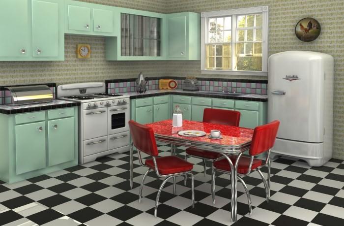 Черно-белая плитка на полу в кухне