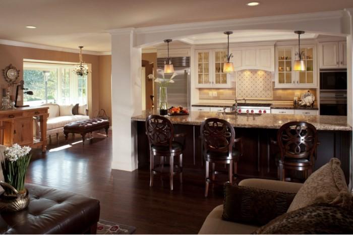 Освещение в кухне-гостиной