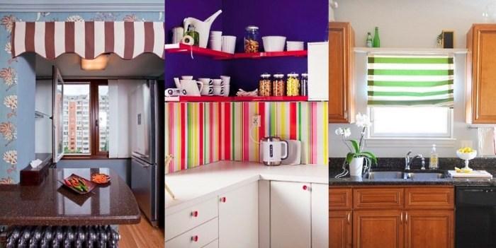 Полоска в интерьере кухни