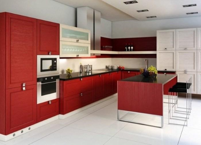 Отделка стен на красной кухне