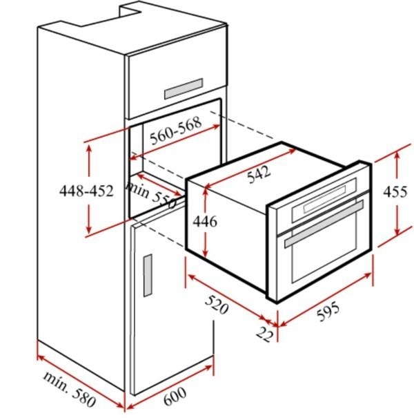 Чертеж шкафа для встроенной духовки