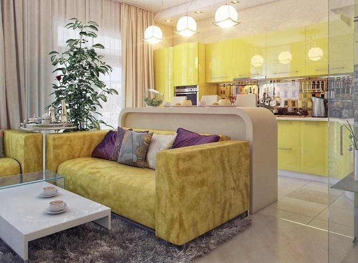 Интерьер гостиной, объединенной с кухней