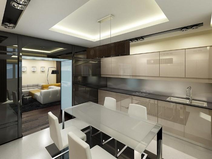 Потолок в кухне хай тек
