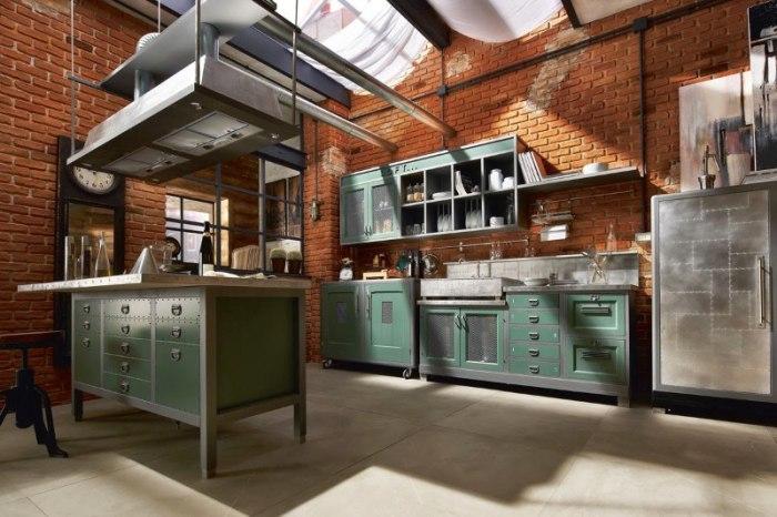 Большая кухня в стиле лофт