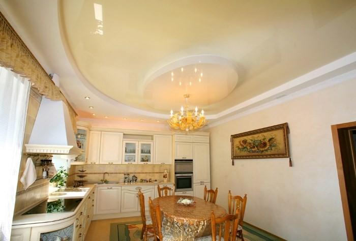 Вариант отделки потолка на кухне